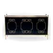 epoca american mid-century custom-made black lacquer 3-door sideboard/buffet with applied brass scrollwork and bronze mounts; by Daniel Jones, Inc., New York