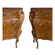 a shapely and large pair of italian rococo style bombé-form chests of drawers with cross-hatched marquetry