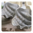 a shapely pair of american 1970's pewter clam shell bowls