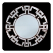 a large and stunning circular mirror with Greek key mirrored border