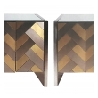 stylish pair of hollywood regency satin brass and polished steel cabinets or chests by Ello