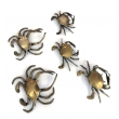 a charming set of five vintage american brass crabs with articulated arms