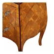 a shapely pair of italian rococo style bombe-form olivewood 2-drawer chests with parquetry inlay