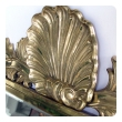 good quality italian hollywood regency solid brass mirror with over-scaled shell crest by Decorative Crafts, Inc est. 1928