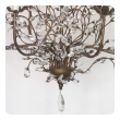 a playful italian 1970's bronze lacquered metal 6-arm chandelier adorned with crystal foliate tendrils