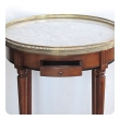 tailored french louis XVI style fruitwood circular side/bouillotte table with carrara marble top