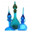 a rare set of 3 american 1960's art glass decanters by Joel Myers for Blenko Glassworks