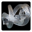 a well-crafted and heavy glass rope knot by Fusion Z Glassworks; with acid etched signature