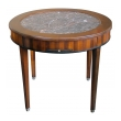 good quality french de Bournay cherry and walnut parquetry game/lamp/center table with inset marble top