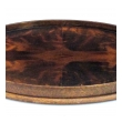 handsome english edwardian flame mahogany veneered oval tray with brass handles