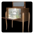 stylish italian mid-century bar cabinet with reeded case and mirrored interior