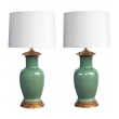 good quality pair of vintage celadon crackle-glaze lamps by Wildwood Lamp Co.