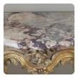 curvaceous and well-carved italian rococo giltwood wall console table with calcutta viola marble top