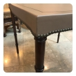Stylish Mid-century Game Table Upholstered in Taupe Leather, by Barnard & Simonds Furniture Co., Rochester, NY