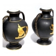 handsome pair of french old paris porcelain basalt -glazed double-handled urns with neoclassical decoration