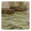 a well-rendered english faience painted tile depicting a dutch galliot; signed 'Burmantofts Faience 1923