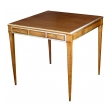 stylish american 1950's walnut single-drawer square game table with brass detailing