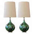 stunningly large pair of american 1960's drip-glaze bulbous-form lamps
