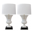 elegant pair of italian white-glazed basket-weave urn-form porcelain lamps