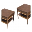 a stylish and classic pair of robsjohn-gibbings for widdicomb walnut serpentine-front single-drawer end/side/bedside tables