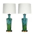 stylish pair of mid-century modern blue and green drip-glaze hexagonal lamps