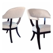 Stylish Pair of American 1960's Edward Wormley Style Barrel-back Chairs with Deep Brown Lacquered Finish