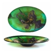 Kent Forrest Ipsen studio glass centerpiece bowl (American, 1933-2012) blue/green with purple and gold accents. etched signature to underside