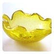 A Vibrant Murano Mid-century Yellow Bullicante Leaf-form Bowl