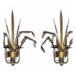 Stylish Pair of Italian 1960's Gilt-tole 2-arm Cattail Wall Lights/Sconces