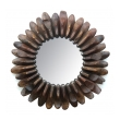 A Whimsically Assembled Circular Mirror of Antique Wooden Shoe Molds
