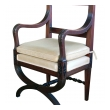 Handsome English Regency Style Curule-form Armchair with Greek Key Relief
