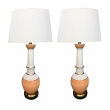 Pair of Frederick Cooper 1960's Peach and White Crackle-glaze Lamps