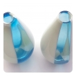 Shapely air of Murano 1960's Teal, White and Cream Striped Bottle-form Vases
