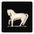 Exquisite Carved Alabaster Horse On Stand, Rajasthan, Circa 1720