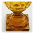 Large Bohemian Cut Crystal Amber-colored Covered Jar
