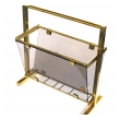 a mod french 1970's brass and smoked glass magazine rack