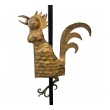 a whimsical french 1940's iron floor lamp with gilt-tole crowing rooster