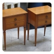 stylish pair of french mid-century modern sycamore 2-drawer bedside cabinets