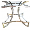 a mod pair of american 1970's square-form chrome stools with white leather seats