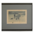 """Henry Pruett Share (American, 1853-1905) etching of a wintry pastoral scene of a shepherd and flock; signed """"R. LeGrande Johnston"""" (1850-1918)"""