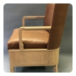 chic pair of french 1940's sycamore marquetry open armchairs in the manner of maurice jallot