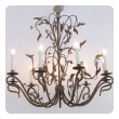 fanciful french 1940's gilt iron 8-light chandelier with floral and foliate vines