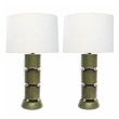 Stylish Mid-century Green Leather Clad Lamps with Brass Spheres