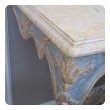 elegant custom-made italian baroque style aqua and ochre painted console table with marble top
