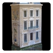 rare and masterfully crafted wooden hand painted dollhouse/cabinet of a stately french chateau by famed artisans Eric & Carole Lansdown