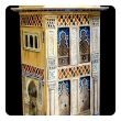 rare and masterfully crafted wooden hand painted Moroccan dollhouse/cabinet entitled 'Morocain' by famed artisans Eric & Carole Lansdown signed 'Carole Lansdown 2013'