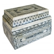 an intricately decorated and large moroccan sarcophagus-form bone box with hinged lid
