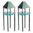 good pair of custom bronze and glass stand lamps; murano, italy