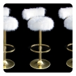 a mod set of 3 brass 1970's barstools with fun fur upholstery