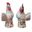 large and striking pair of early 20th century chinese export polychrome porcelain roosters